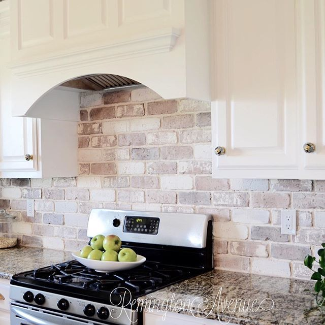 on the blog a full tutorial on my diy brick veneer backsplash