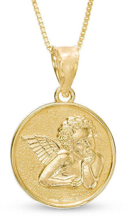 Zales Guardian Angel Disc Pendant in 10K Gold