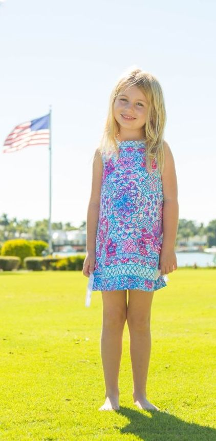 a354fe56c Lilly Pulitzer Girls Little Lilly Classic Shift Dress shown in Resort White  Pinchers Picnic Kids Engineered.
