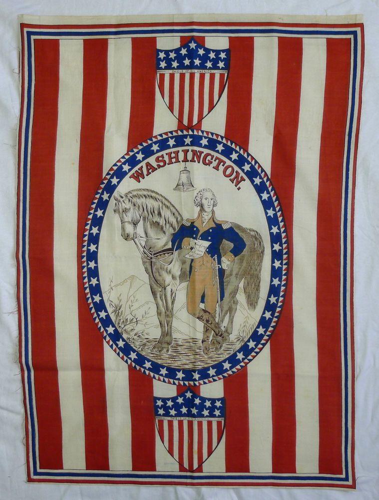 1876 U S Centennial George Washington 39 Star Flag Patriotic Parade Banner Parade Banner American Folk Art Patriotic Images