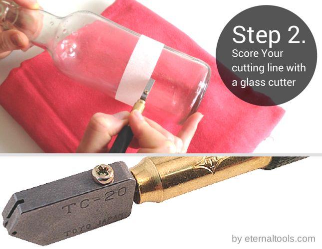 Note de votre ligne de coupe avec un coupe verre comment - Comment couper une bouteille en verre ...