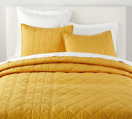 The Emily Meritt Marigold Pindot Cotton Quilt Shams In 2020 Quilted Sham Emily And Meritt Yellow Bedding