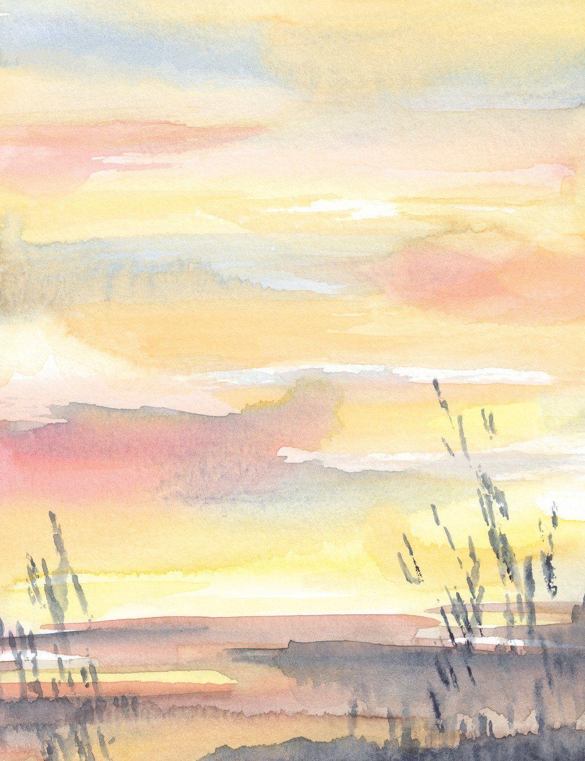 Abstract Sunset Watercolor Landscape Art Print Sunrise Wall Etsy Watercolor Sunset Sunrise Art Watercolor Sunrise