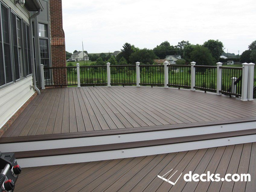 Low Maintenance 2 Level Deck Custom Curved Railing Decks Backyard Trex Deck Building A Deck