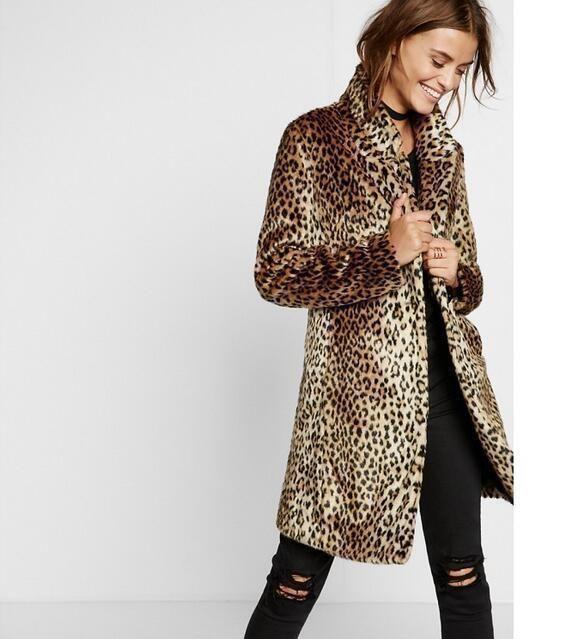 ac01d7e471fc Fashion Women Trench Coat Faux Fur Leopard Print Long Parka Overcoat B206