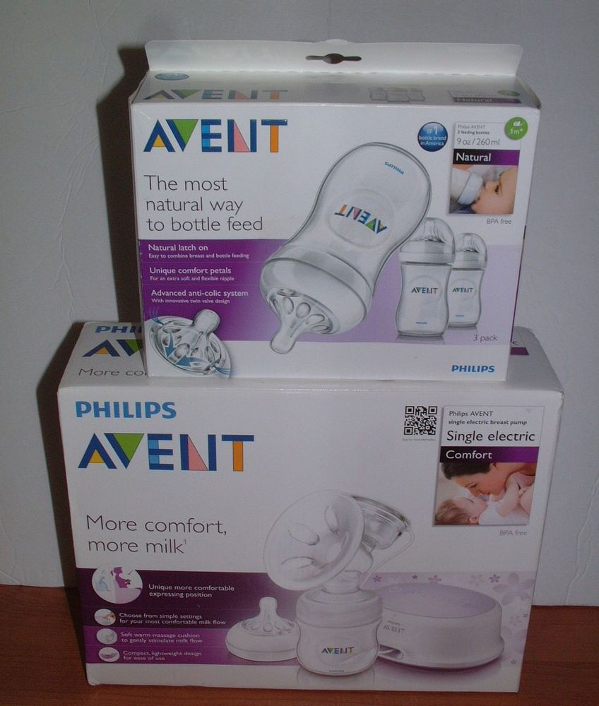 Philips Avent Breast Pump SCF332/01 NIB & 3 SCF693/37 Feeding Bottles 9 oz  #PhilipsAVENT