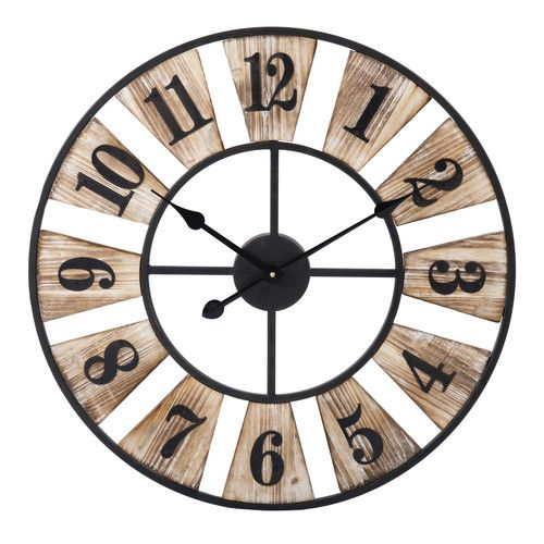 Horloge En Métal Et Bois D 60 Cm Woody En 2019 Horloge