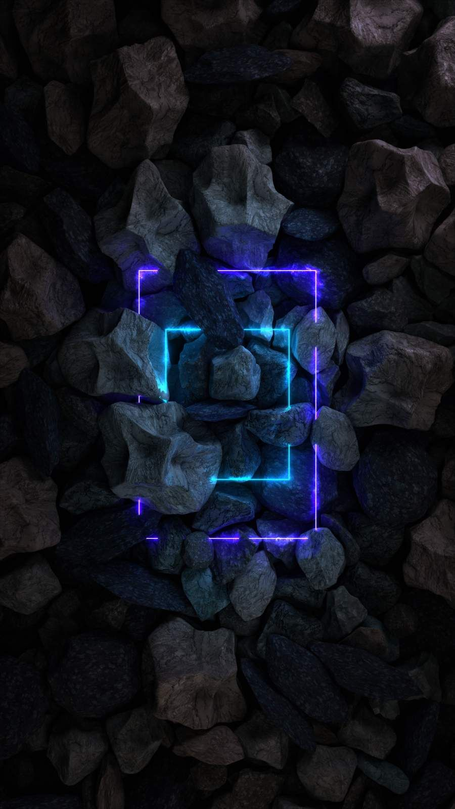 Stone Rocks Neon Light iPhone Wallpaper - iPhone Wallpapers