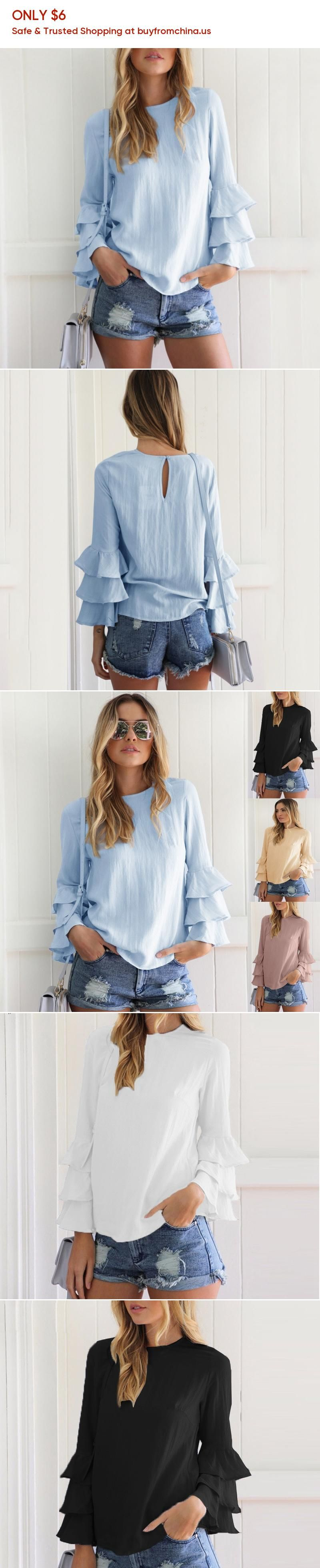 c565a746f9b 2017 Sexy Autumn Back Button Hollow Out Blouses Thin Long Fold Sleeve Women  Blouse Plus Size Women Shirts blusas