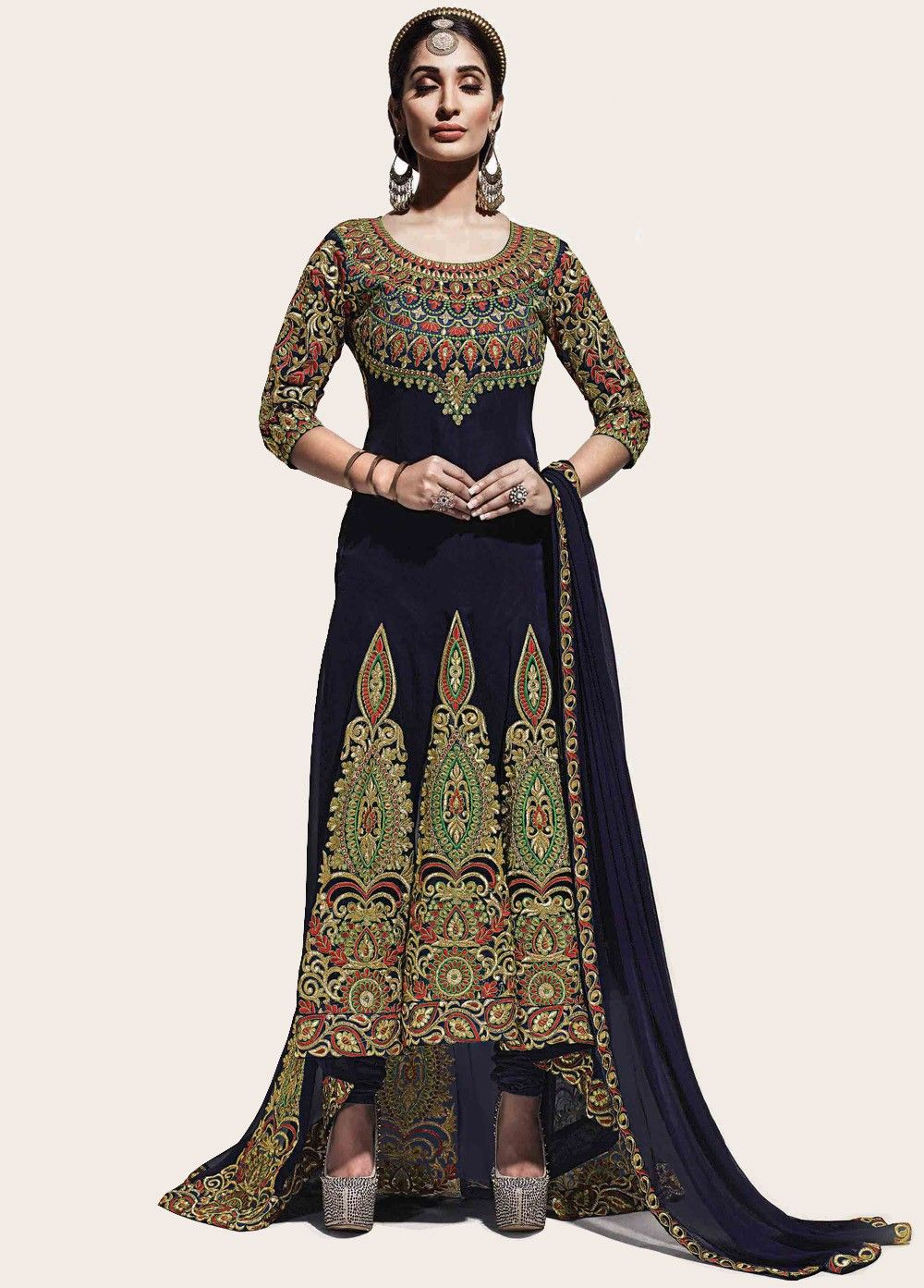 Royal blue multicolor embroidered trail anarkali party pinterest