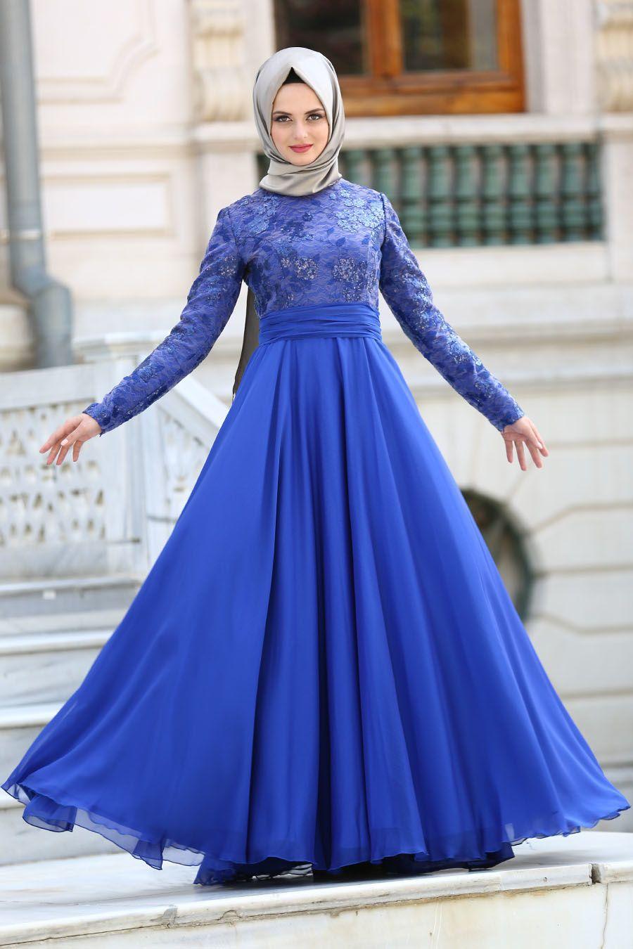 e7056db431953 Tuay - Beli Nervür Detaylı Saks Mavisi Tesettür Abiye Elbise 2389SX  #tesetturisland #tesettur #