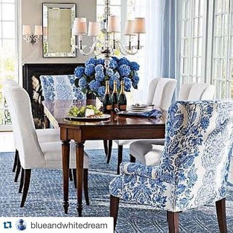 Blue And White Dining Room With Great Head Chairs Dining Room