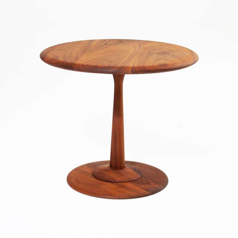 Round Vintage Walnut Side Table By Gordon Martz For Marshall