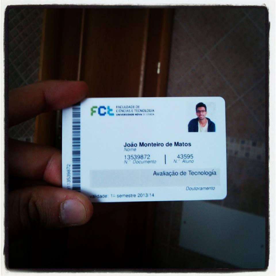 O meu primeiro cartão para entrar na FCT_UNL