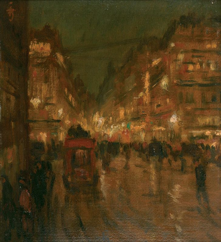 Paris night, 1908, Tavík František Šimon. Czech (1877 - 1942) Many of his most notable images are of Prague, New York, and Paris, but also include portraiture and self-portraiture and images of the Czech and Slovak countryside. Šimon's style was strongly influenced by the French Impressionists and, perhaps through them, by Japanese printmaking techniques, in particular color aquatints with soft ground etching