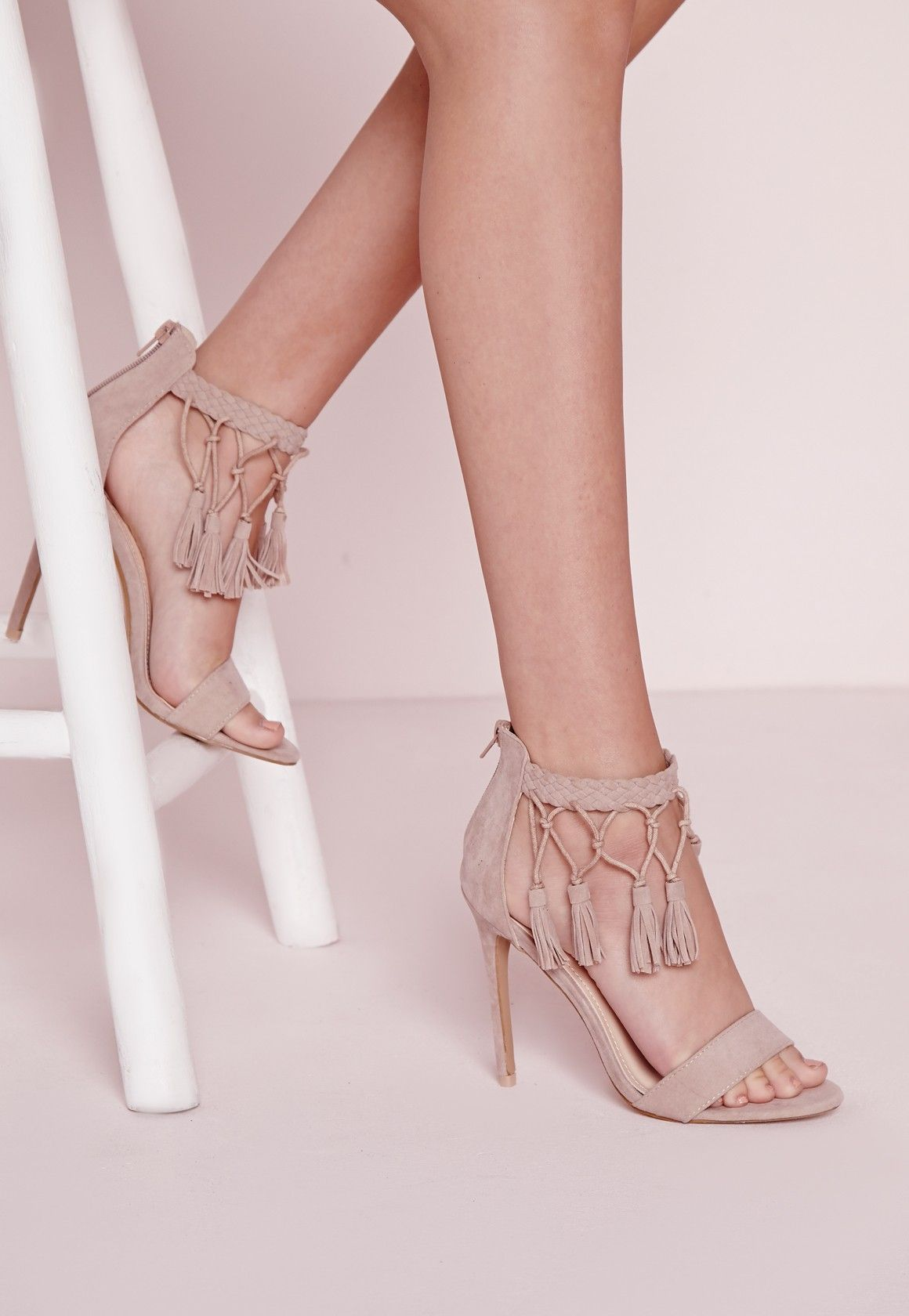 5ad045ef6d8 Missguided - Tassel Ankle Strap Barely There Heeled Sandals Nude ...