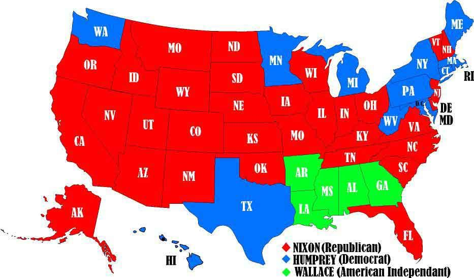Electoral Map Of Richard Nixons Historic Victory Politics - Bill clinton 1996 us presidential election results maps