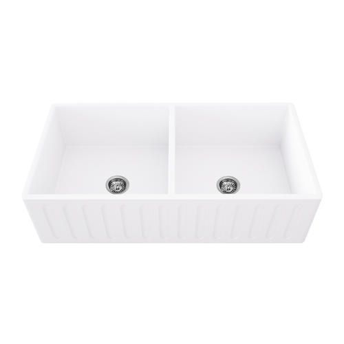 Vigo 33 Matte Stone Double Bowl Farmhouse Sink At Menards Vigo