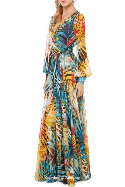945e9bee4edc Tropical Print Maxi Chiffon Dress