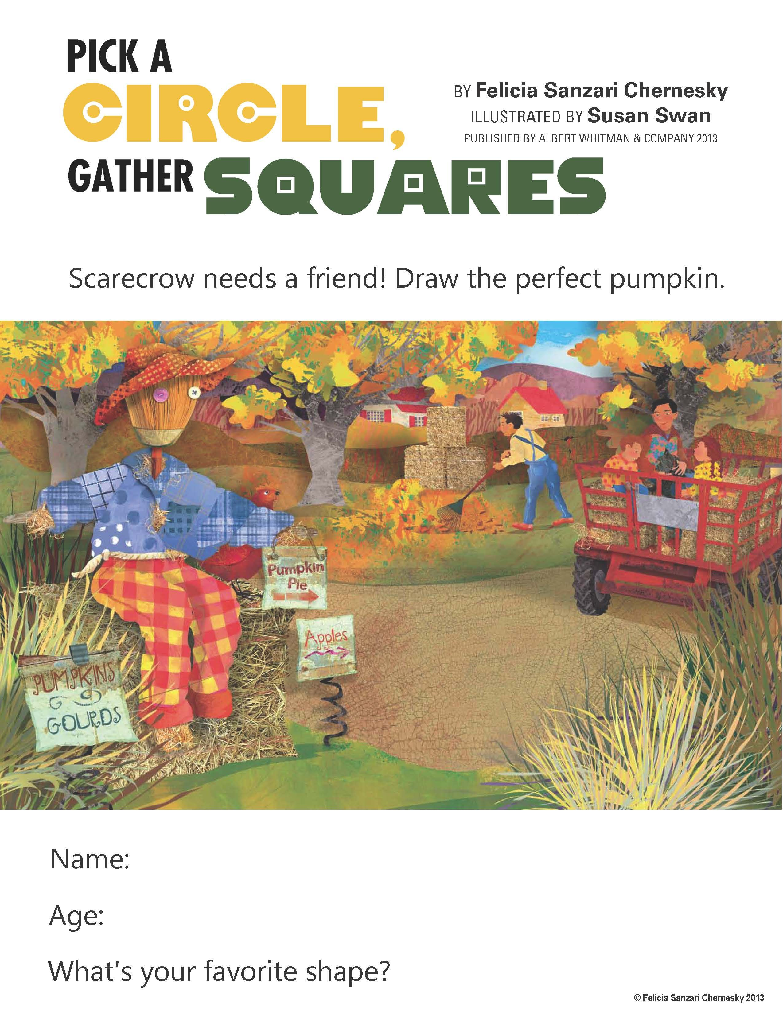 Another Fun Activity Sheet I Ve Created For My Book Pick A Circle Gather Squares A Fall