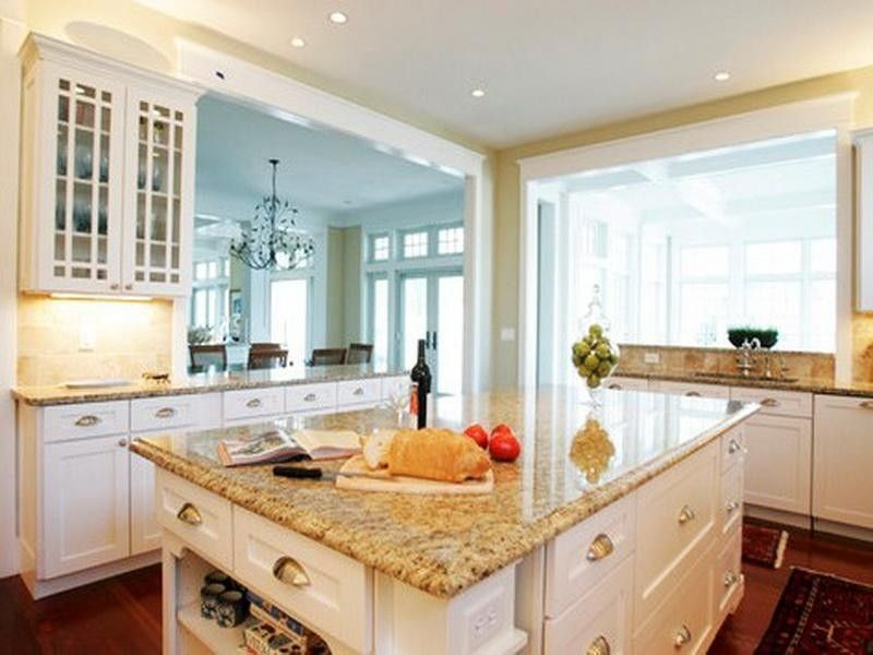 Lovely White Cabinets With Yellow Granite Countertops