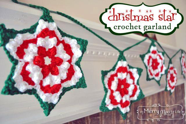 Crochet Christmas Star Granny Garland Free Pattern Crochet