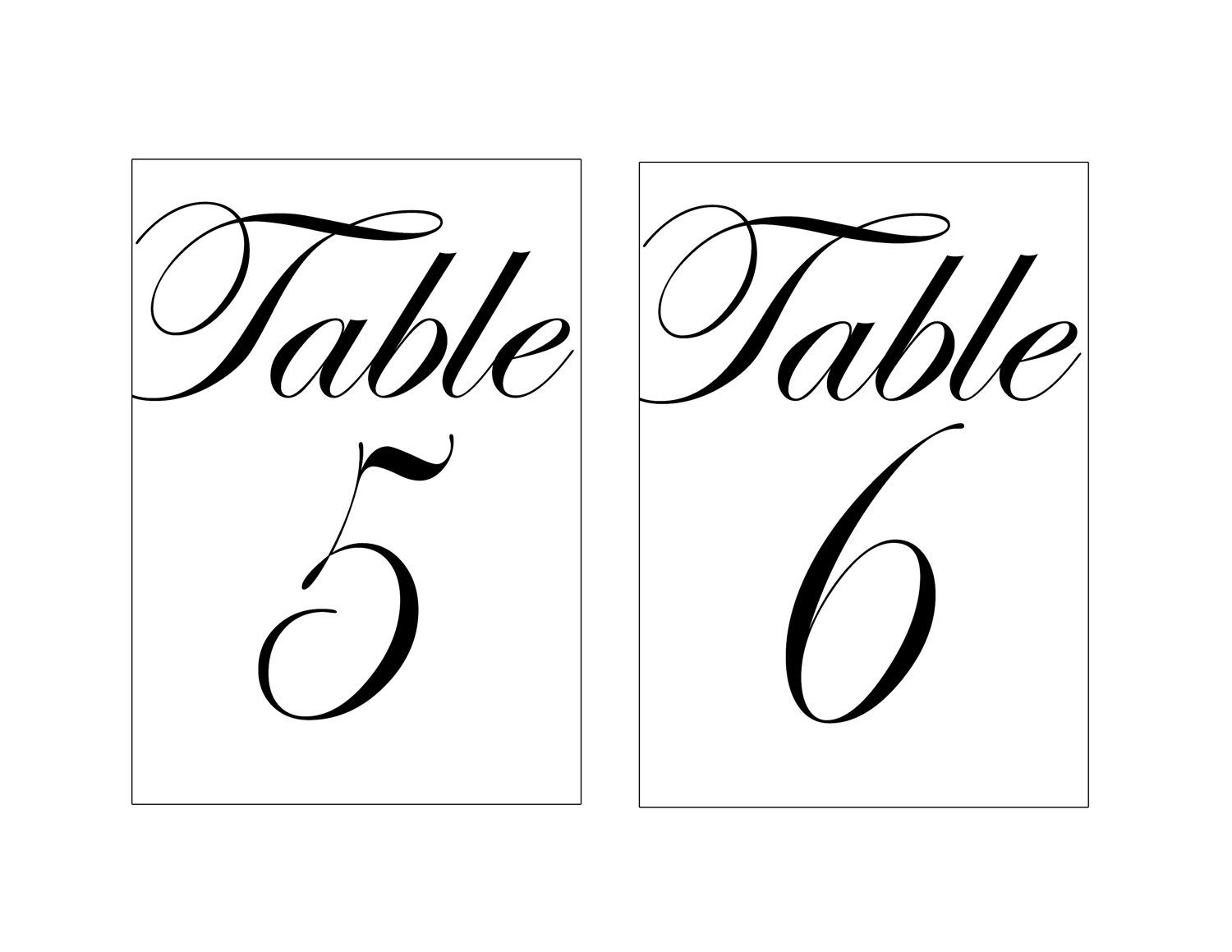 Printable Table Numbers Printable Table Numbers Wedding Table Numbers Template Wedding Table Numbers Printable