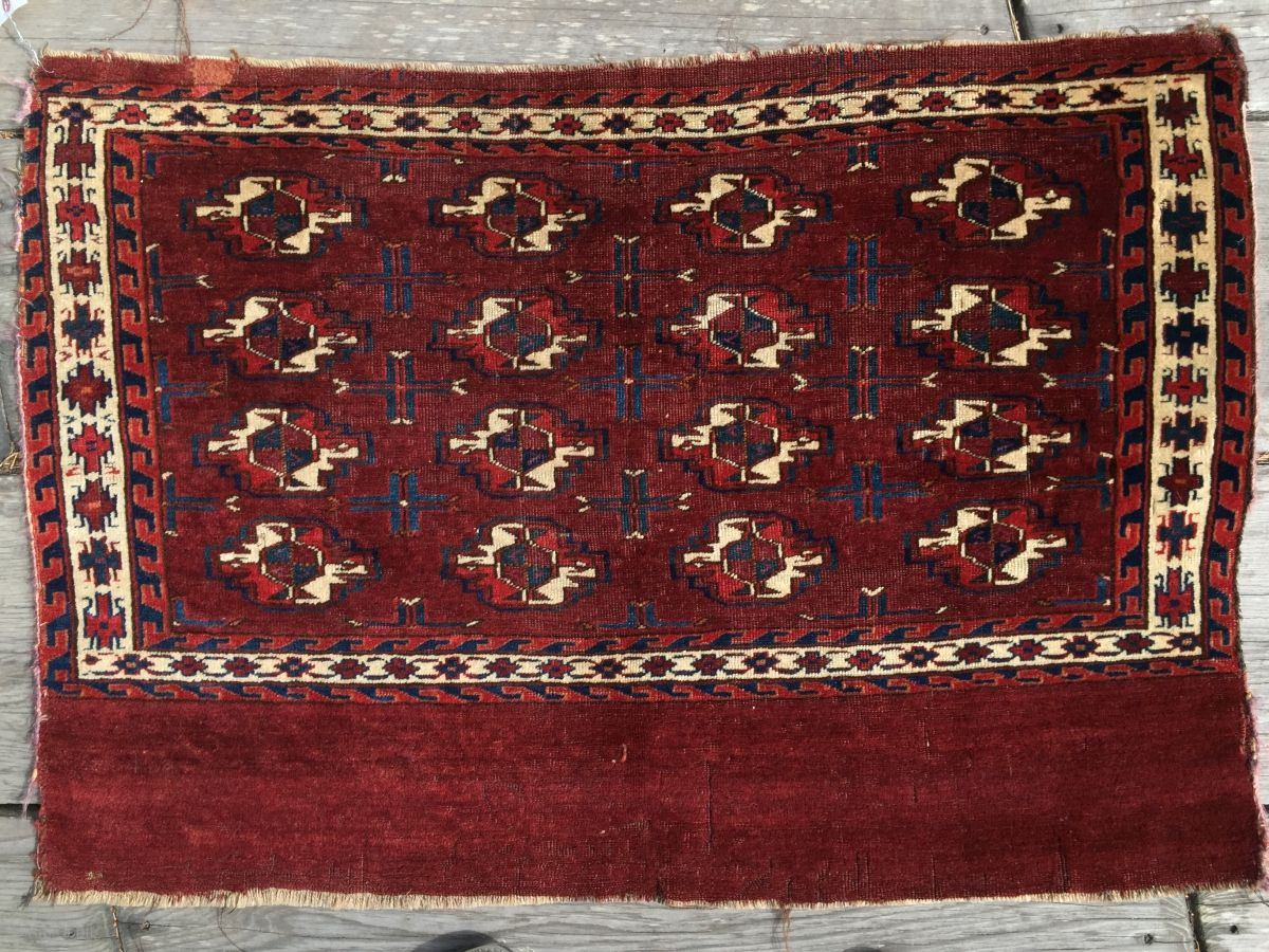 16 gul Yomud chuval with outstanding 100% natural dyes. C.1870. Very nice velvety pile. Fine weave with slightly ribbed dry back and firm handle. Good condition with some old moth trails only ...