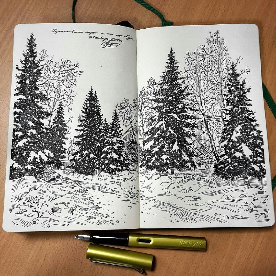 Lovely #fountainpen #nature #drawing by Alexey Pastukhov ...