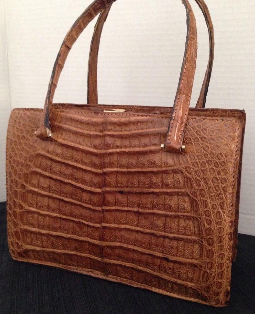 True Vintage Goldpfeil Gold Pfeil Brown Alligator Satchel Handbag Purse Germany Satchelhandbag