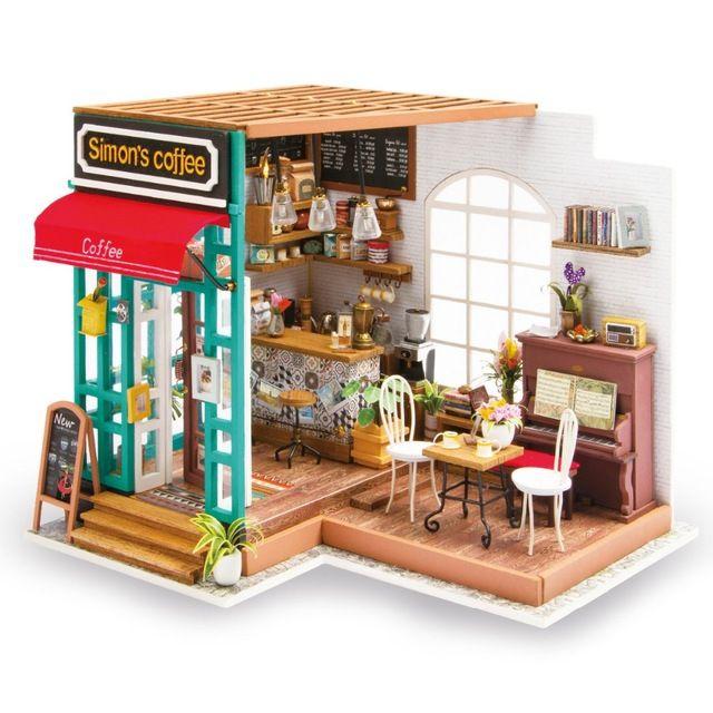 Handgemachte Montieren Puppenhaus Miniatur Möbel Kits Spielzeug Mit  Led Licht Diy Holz Handwerk Kaffee