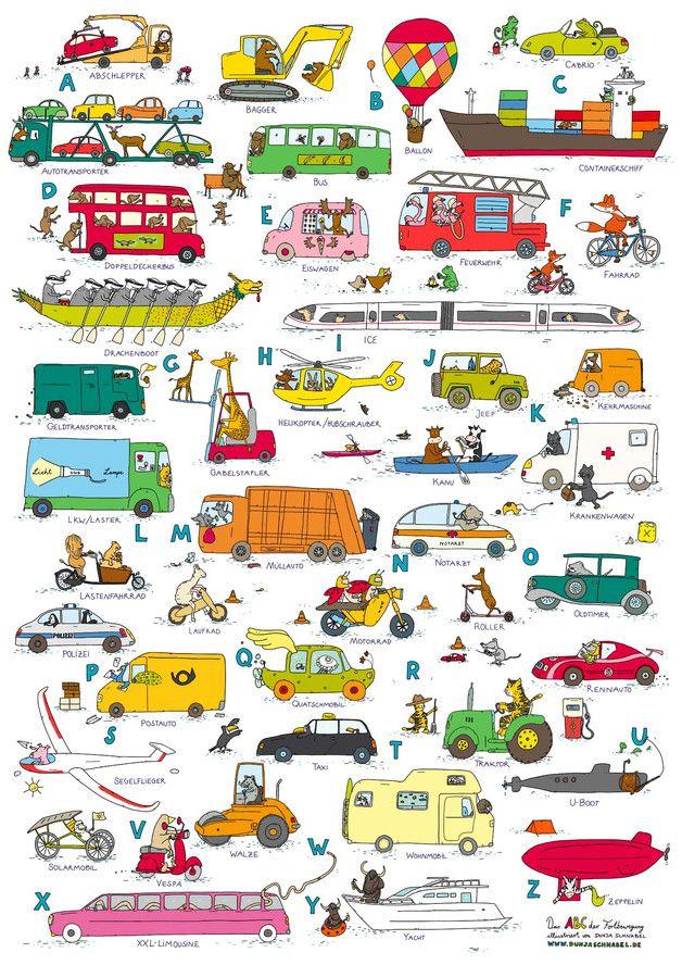 Drucke & Plakate - Das ABC der Fahrzeuge (DINA 1) - ein ...