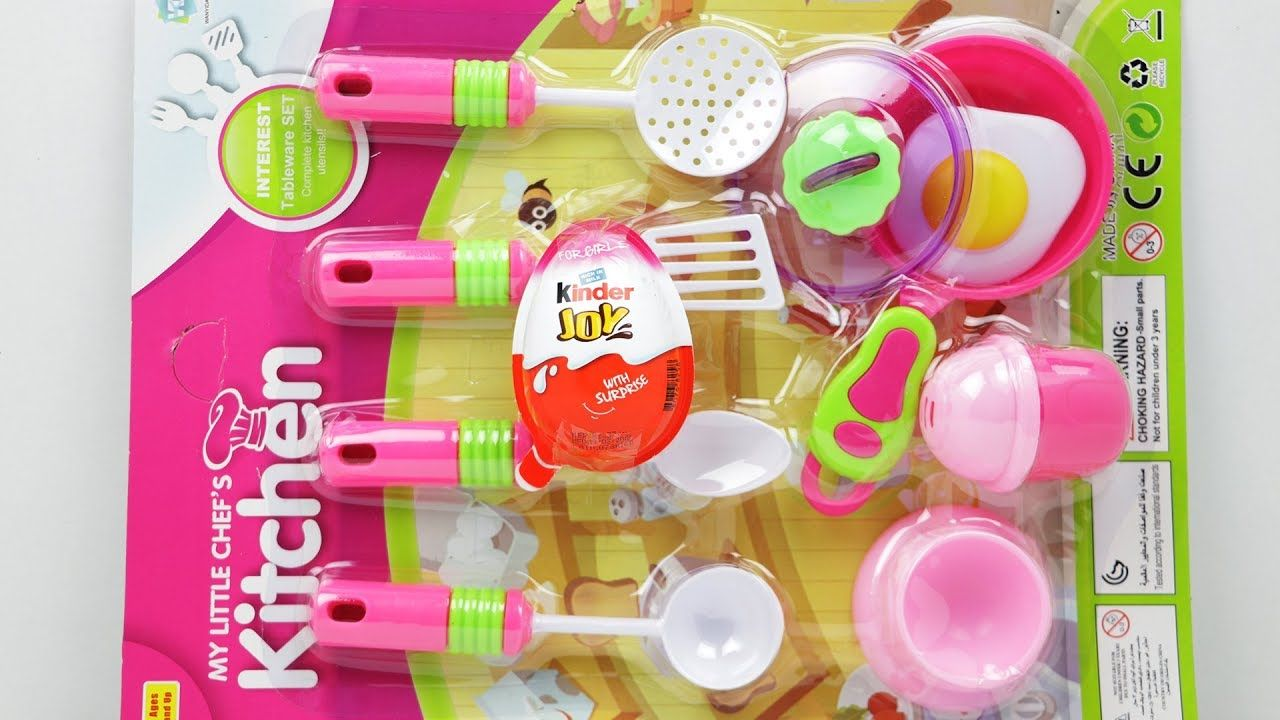 Playing Cooking With My Little Chef Kitchen Set Kinder Joy Surprise Eggs Kinder Joy Surprise Eggs Chefs Kitchen Little Chef