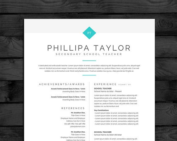 Resume Template  Cv Template Mac  Pc  Page Teacher Cv Free