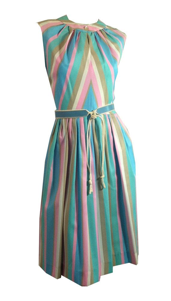 vintage Pastel Candy Striped Dress Peek a Boo by DorotheasCloset, $130.00