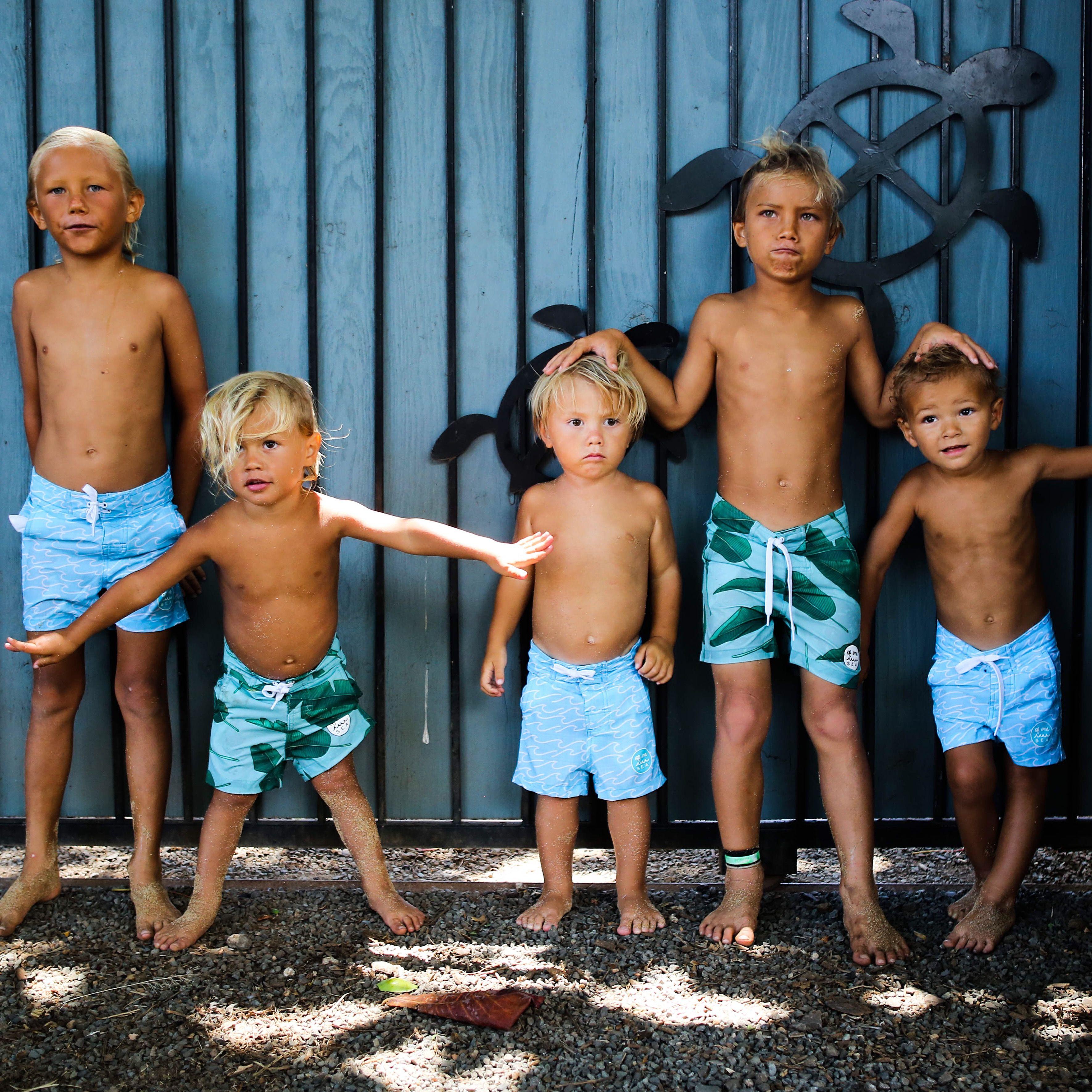 Walk Surf Swim Shorts In Banana Leaves Print Kid S