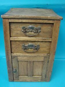 Antique Oak Wood Chamber Pot Cabinet