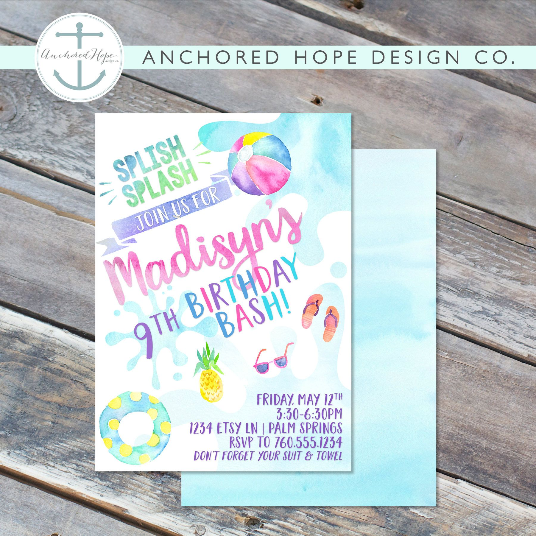 Pool party birthday invitation 5x7 watercolor modern splish pool party birthday invitation 5x7 watercolor modern splish splash girls stopboris Image collections