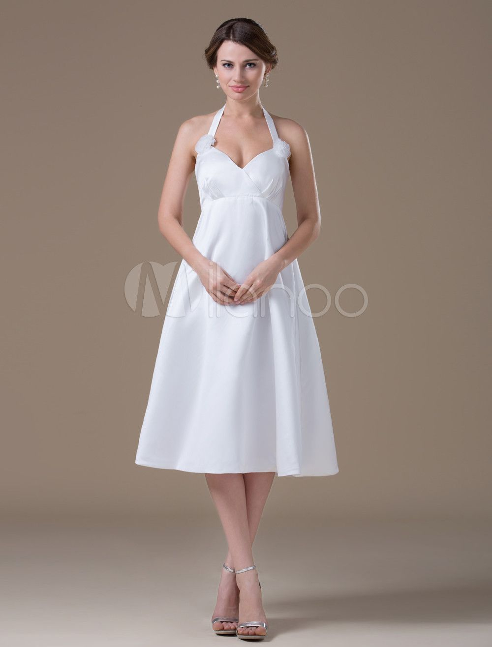 Mini white wedding dress  Milanoo Ltd Wedding Dresses White Maternity VNeck Halter