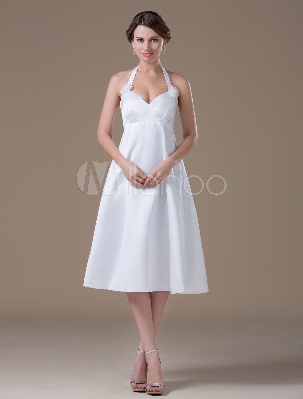 Mini white wedding dress  Milanoo Ltd Wedding Dresses White Maternity VNeck Halter