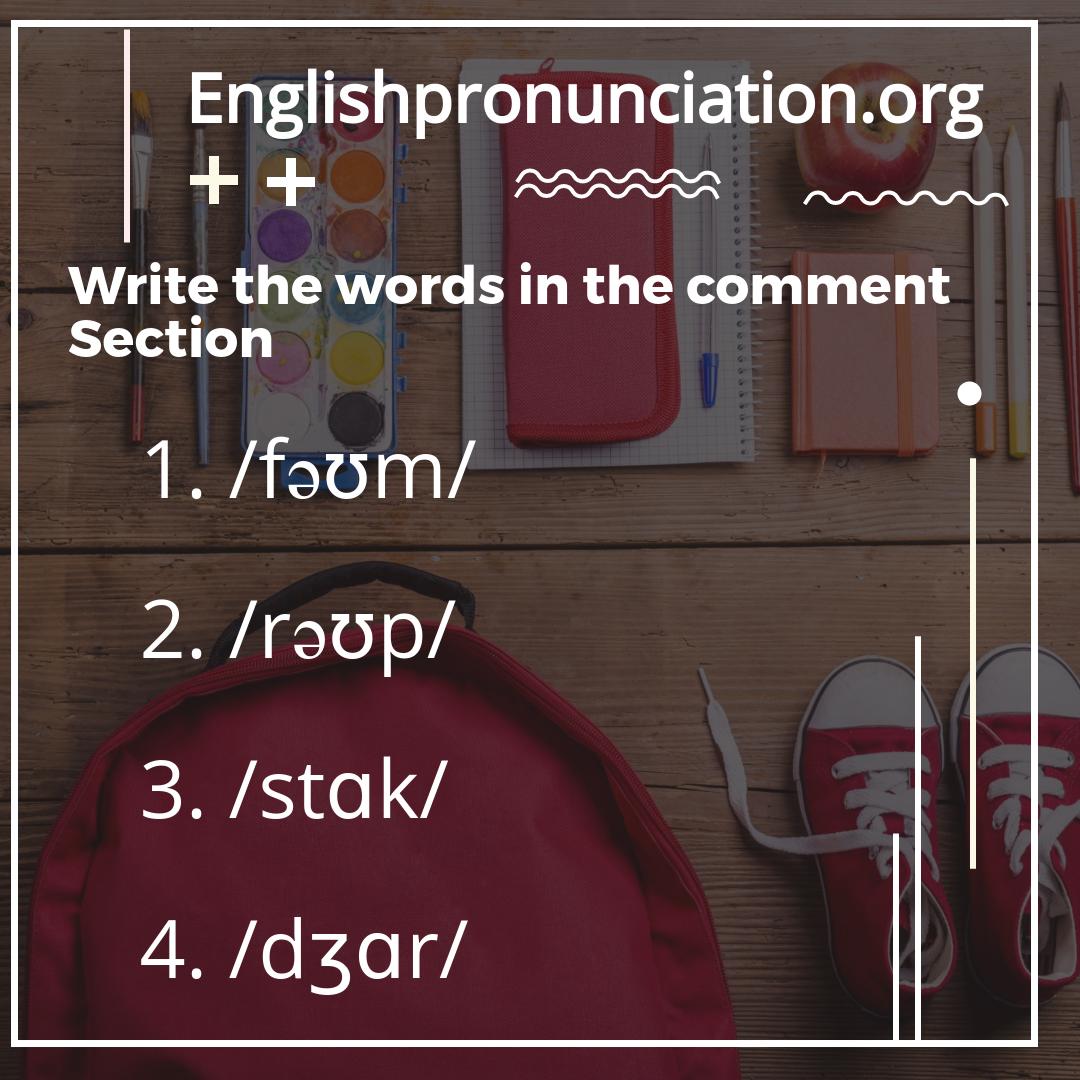 Pronunciation List Of Minimal Pairs