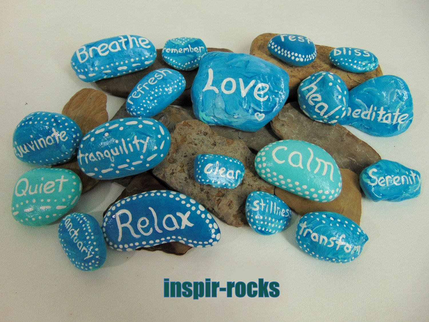 $48.88 set of 18 Hand Painted Beach Inspir-rocks Inspirational Words Decorative Blue Green by wardrobetheglobe on Etsy