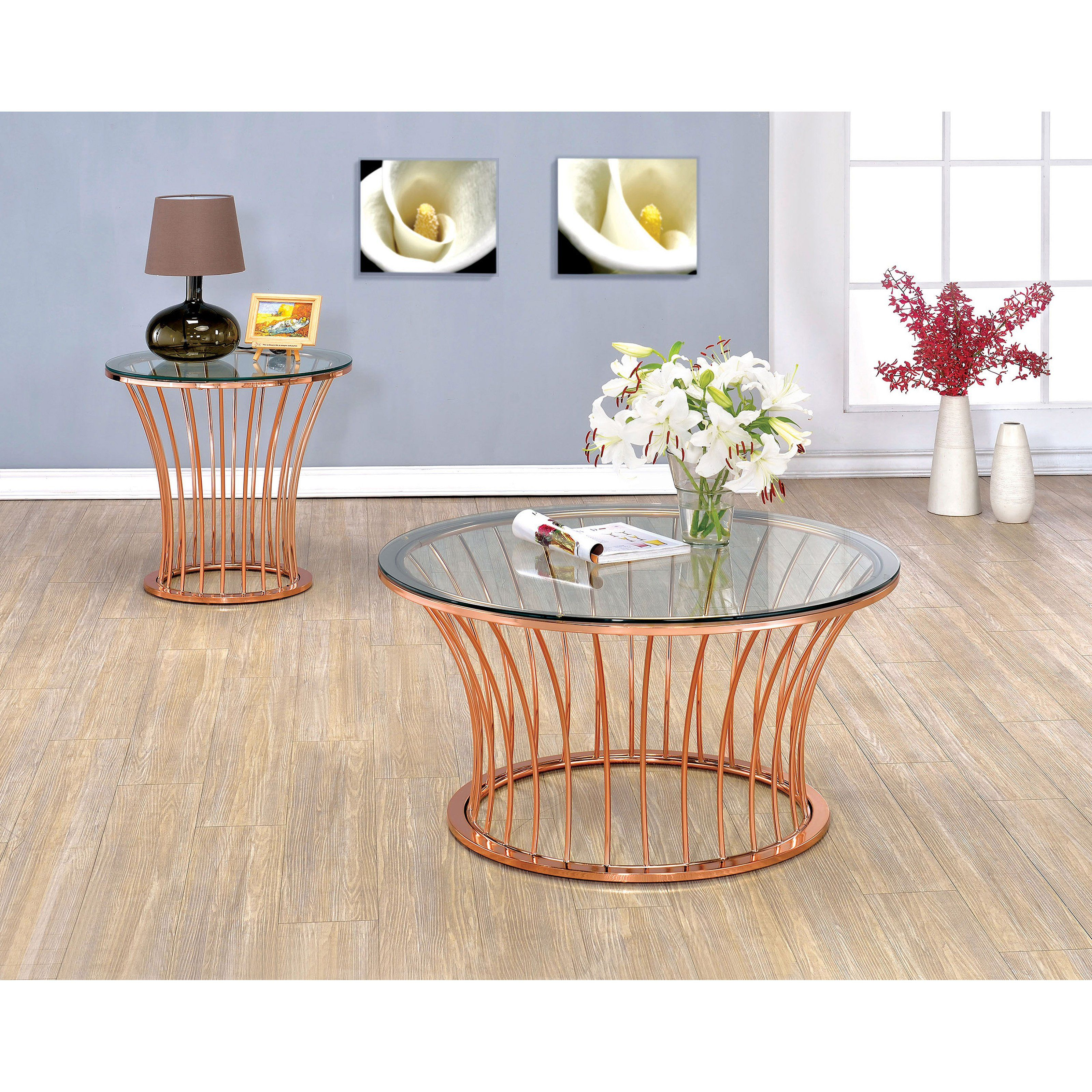 Furniture of America Roselyn Flared Bar 2 Piece Coffee Table Set