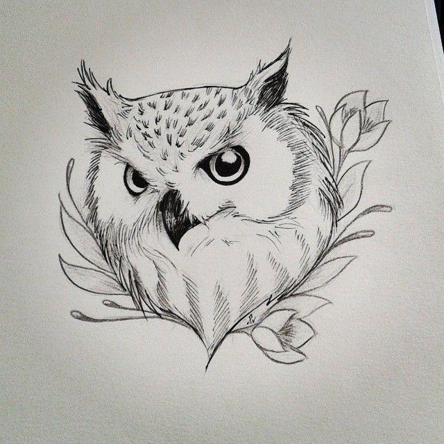 #doodle #dessin #dotwork #bird #oiseau #owl #hibou # ...