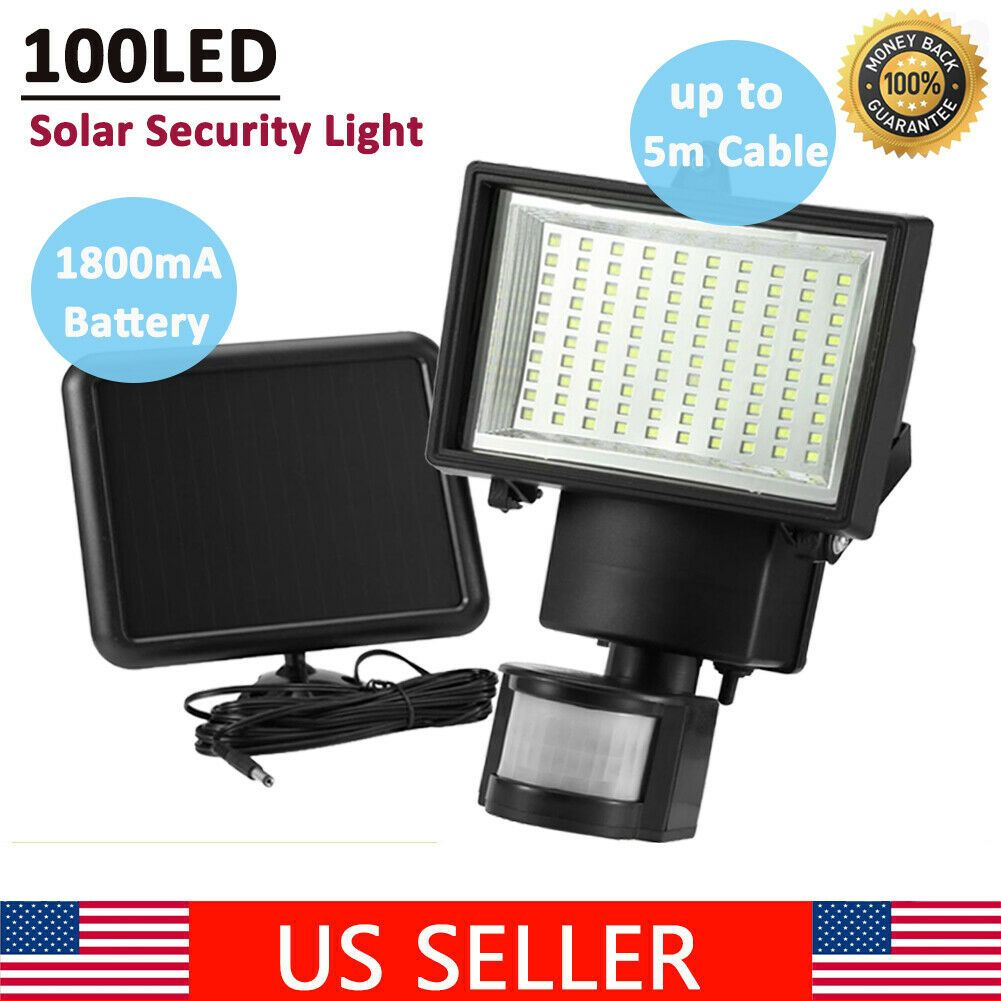 100 Led Solar Powered Pir Motion Sensor Light Garden Outdoor Security Flood Lamp Solar Motion Sensor Lights Solar Security Light Motion Sensor Lights Outdoor