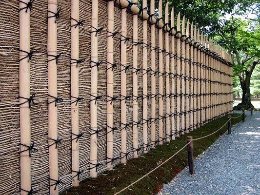Japanese Fence Panel With Bamboo Knot Tied