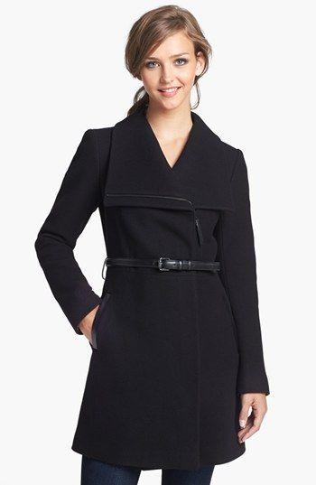 Classic Black Wool Coat: Mackage 'Valencia' Belted Wool Blend Coat | Nordstrom