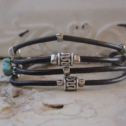 Dark Brown Leather Charm Bracelet with Silver and by DesignsbyNoa
