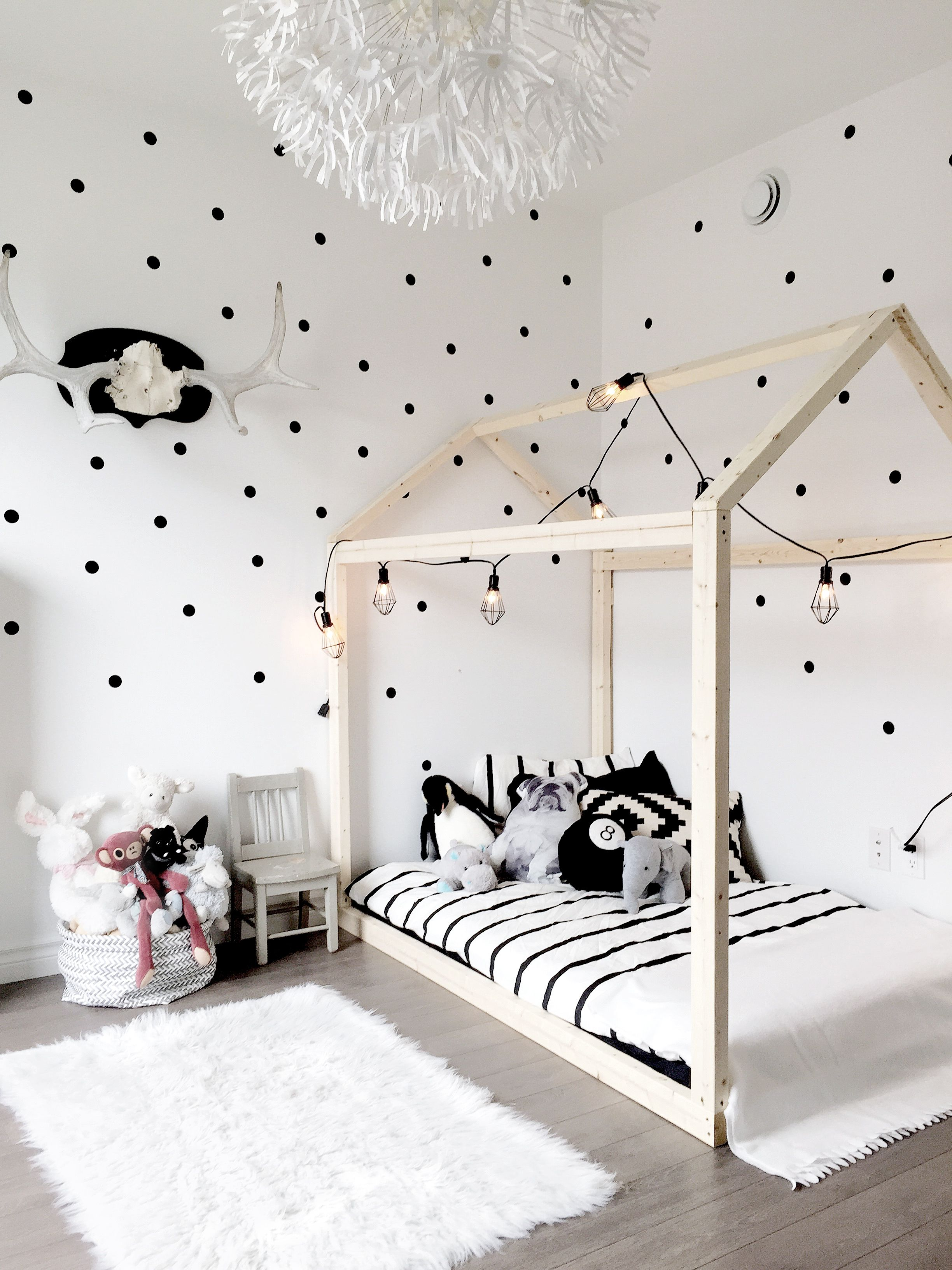 Kids Bedroom Black And White nursery decor, scandinavian nursery, house bed, polka dot wall