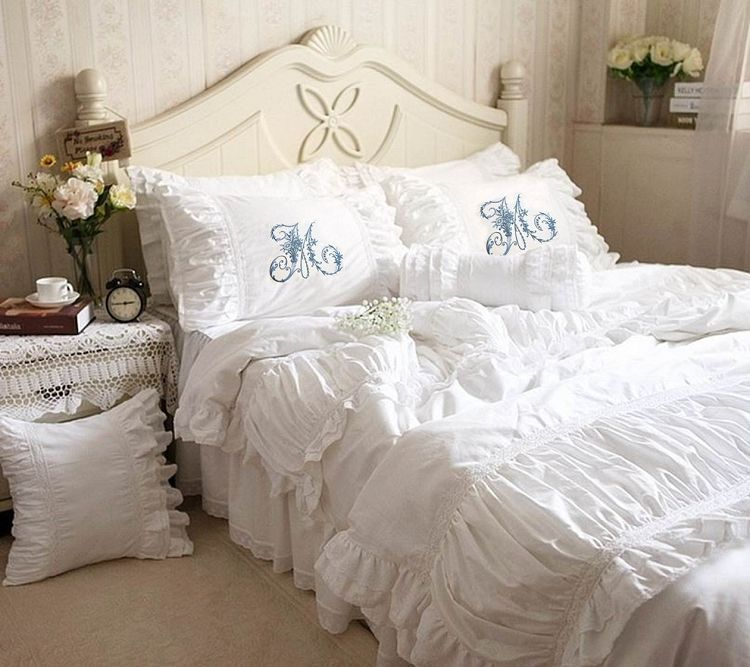 Luxurious Ruched Ruffled Lace Amp Eyelet Duvet Bedding